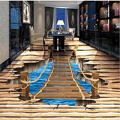 Modern3D Stereo Wood Bridge Photo Mural Wallpaper Sticker Bedroom Study Living Room 3D Floor Tile PVC Vinyl Home Decor-450cmx300cm