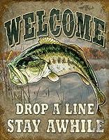 ブラックバス★バスフィッシング・Welcome Bass Fishing・釣り系★アメリカンブリキ看板[1669]