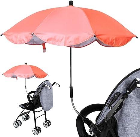 Luzoeo Sombrilla Universal Carrito de Bebé Paraguas Sombrilla Parasol para Cochecito Silla de Paseo 360 Grados Ajustable con UV Protección el Bebés y Niños (75cm, Naranja): Amazon.es: Bebé