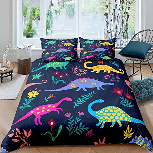 Touoahi Duvet Cover Quilt Bedding Color Wild Animal Dinosaur King (230 X 220 Cm) Set With Pillowcases 3 Pcs With Pillow Case Bedding Set, Non-Iron Smooth Feeling With Breathable Quilt Cover Set