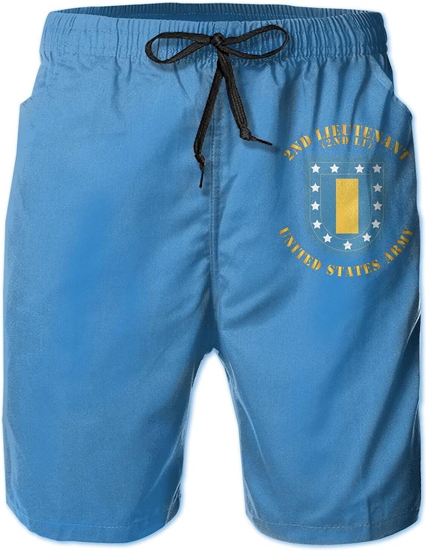 N //A Army 2nd Lieutenant Flash W Rank 2lt 3D Men's Swim Trunks Quick-Drying Lightweight Beach Board Shorts