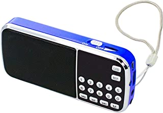 Iycorish L-088 MP3 Music Player Speaker with LED Flashlight Auto Scan FM Radio Receiver Support TF//USB(Black + Blue)