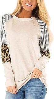 Aifer Women's Casual Leopard Color Block Tunics Short Sleeve Crew Neck Patchwork Stripe T Shirt Blouse Tops
