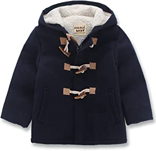 Boy Girls Unisex Baby's Fashion Hooded Jacket Kids Toggle Wool Coat with Velvet
