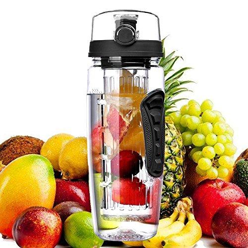bennyuesdfd Wasserflasche Frucht Infuser Sports Kunststoff Trinkflasche 1Liter Auslaufsicher Deckel mit Verschluss & Tragehenkel für Fruchtschorlen Gemüseschorlen (Schwarz)