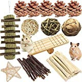 21PCS Hamster and Rabbit Chew Toys, Pet Bunny Tooth Molar Toys Accessories ,Organic Natural Apple Wood Grass Cake Ideal for , Chinchilla, Guinea Pigs, Rat Teeth Grinding&Juguete conejito hámster