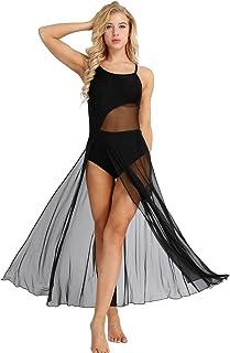 897e319a9b0 MSemis Femme Robe de Ballet Justaucorps de Danse Gym Split Robe Bretelles  Maille Tutu Body de