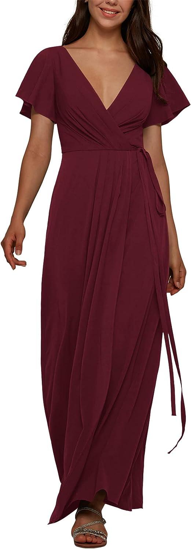 ALICEPUB V Neck Wrap Bridesmaid Dresses Long for Women Chiffon Formal Wedding Party Dress with Sleeve