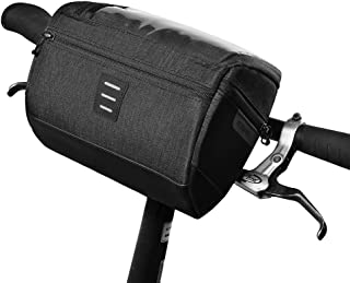 Roswheel Bike Handlebar Bag, Cycling Handlebar Storage Basket Bag Mountain Bicycle Front Frame Bag Pannier Pouch with Biking Transparent Water Resistant Touch Screen Phone Holder for Road MTB Outdoor