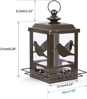 BOLITE 18034 Bird Feeder, Panorama Bird Feeder Single-Deck Lantern Bird Feeder for Garden Yard Decoration, Bronze, 2lb