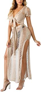 Chicmay Women Hollow OutKnitted See Through 2 Piece Outfits Crop Top High Slit Party Long Maxi Dress Bikini Cover up
