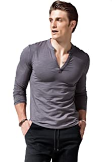 XShing Mens Long Sleeve T Shirts Slim Fit Deep V Neck Athletic Casual