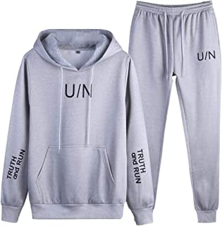 Sodossny-AU Men's Two-Piece Sets Hoodies Running Sweatshirts Workout Jogger Tracksuits