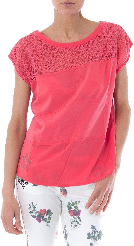 Desigual Women's 73T2YC5PINK Fuchsia Cotton TShirt