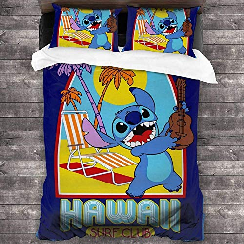 Stitch - Copripiumino per lettino da bambini, motivo cartone animato, 626, articolo per tifosi, previene le allergie, morbido, tutto l'anno (Stitch3, 220 x 240 cm + 80 x 80 cm x 2)