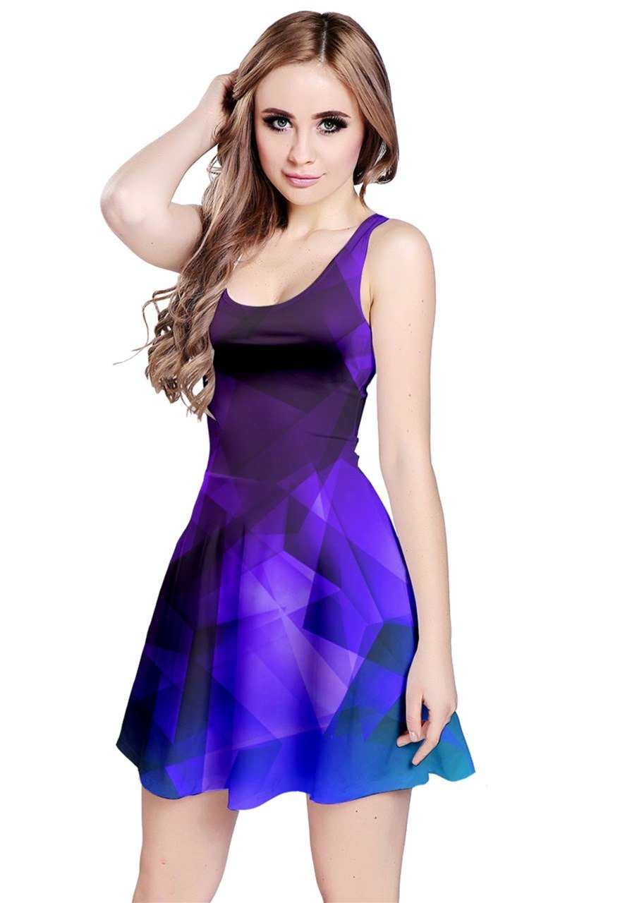 Available at Amazon: CowCow Women's Colorful Vector Abstract Geometrical Polygonal Iridescent Gem Pattern Sleeveless Dress XS-5XL