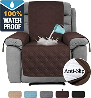 H.VERSAILTEX 100% Water Proof Oversized Recliner Chair Covers Furniture Cover Seat Width Up to 30 Inch Slip Resistant Stay in Place Furniture Covers for Recliner (Recliner Large: Brown)