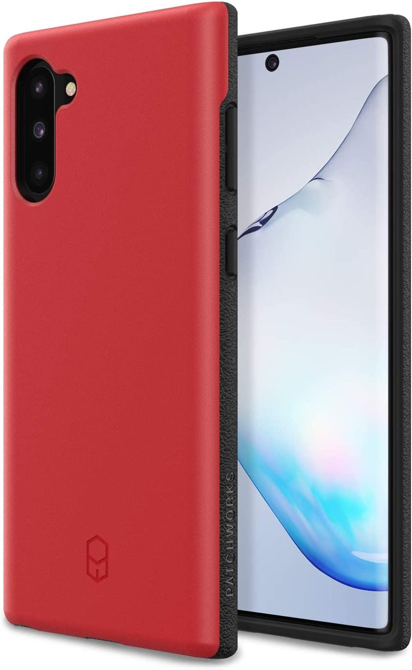 PATCHWORKS ITG Designed for Samsung Galaxy Note 10 (2019) Ultra Slim Fit Thin Shockproof Hard Back Non Slip Stylish Matte Protective Phone Case [Military Grade Drop Test] - Red