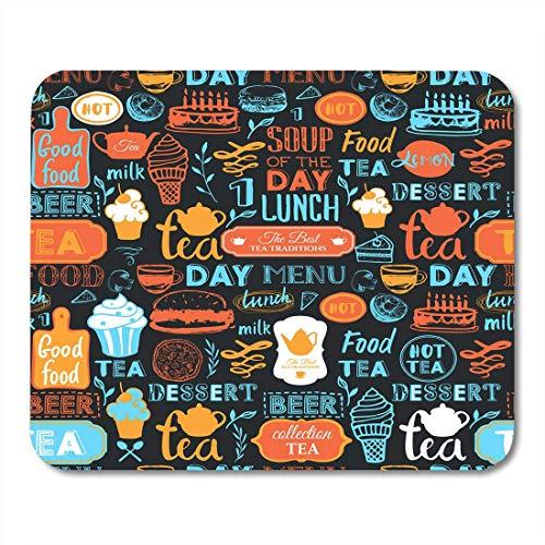 Semtomn Mouse Pad Getränke- und Lebensmittelsymbole Muster Lustige Beschriftungsetiketten Mousepad für Notebooks, Desktop-Computer Mausmatten, Büromaterial