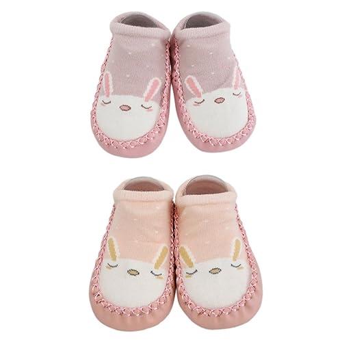 ee71937bb06 2 Pairs of Baby Boys Girls Indoor Slippers Anti-slip Shoes Socks Bunny Cat  Bear