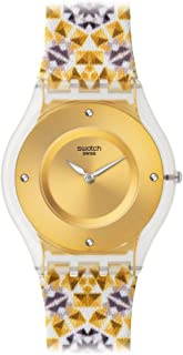 Swatch Women's SFW107 Seminato Year-Round Analog Quartz Gold Watch