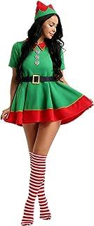 0c89bd90a26ab Alvivi Déguisement Femme Elfe Robe de Noël Cosplay Costume de Carnaval  Party Costume Elf Chapeau Lutin