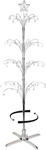 """new arrival Rotating 2021 Ornament Trees Silvertone 74"""" outlet sale Holds 90 Ornaments outlet online sale"""