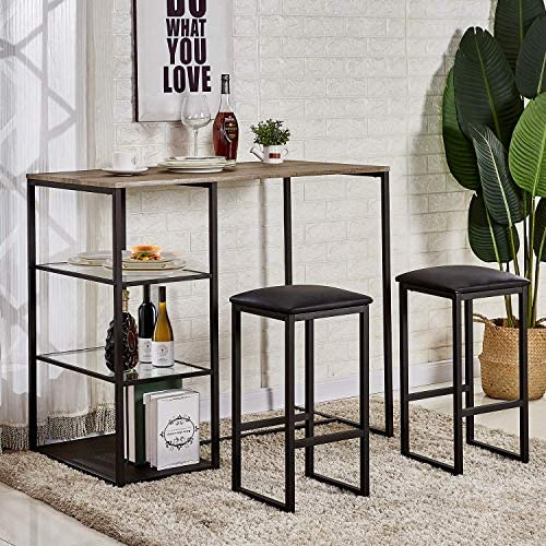 Best Vecelo 5 piece Pub Table With Cushion Stools, Black - Space-saving dining table set
