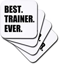 3dRose cst_185019_1 Best Trainer Ever, Fun Gift for Training Job Appreciation, Black Text-Soft Coasters, Set of 4