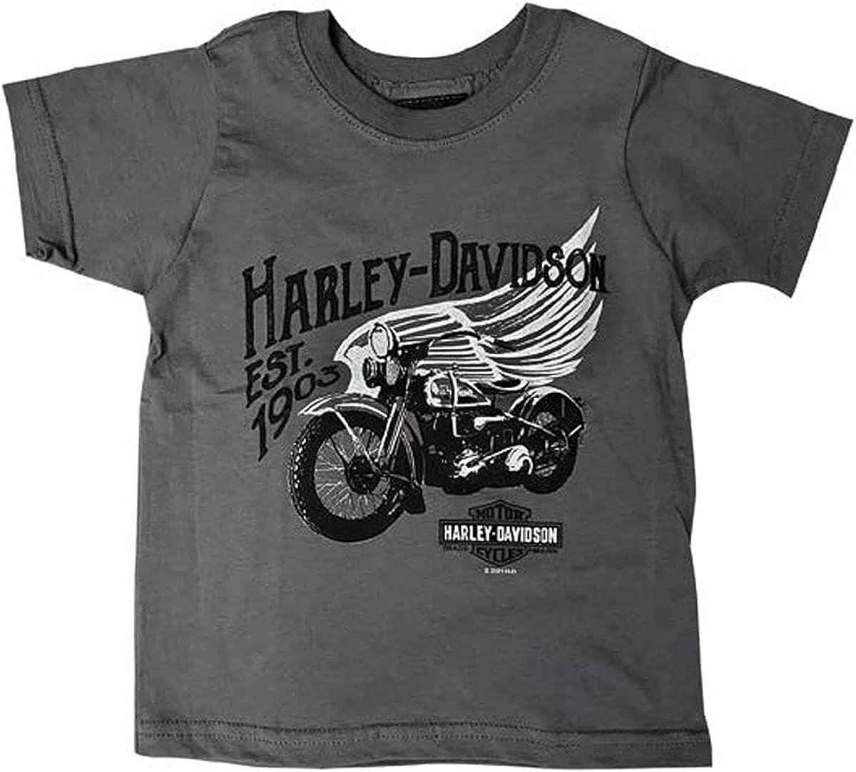 Harley-Davidson Boys Youth Good Times Moto Wing Charcoal Short Sleeve T-Shirt