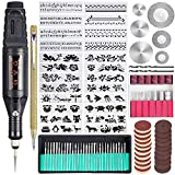 Uolor 108 Pcs Engraving Tool Kit, Multi-Functional Electric Corded Micro Engraver Etching Pen DIY Rotary Tool for Jewelry Glass Wood Ceramic Metal Plastic with Scriber, 82 Accessories and 24 Stencils