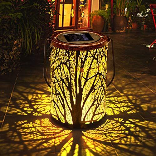 ROVLAK Solare Lanterna Impermeabile IP65 All'aperto Appeso Solare Ricaricabile Luci Metallo LED Tavolo Lampada Paesaggio Decorativo Notte Lanterna per Patio Giardino Cortile Portico Sentiero