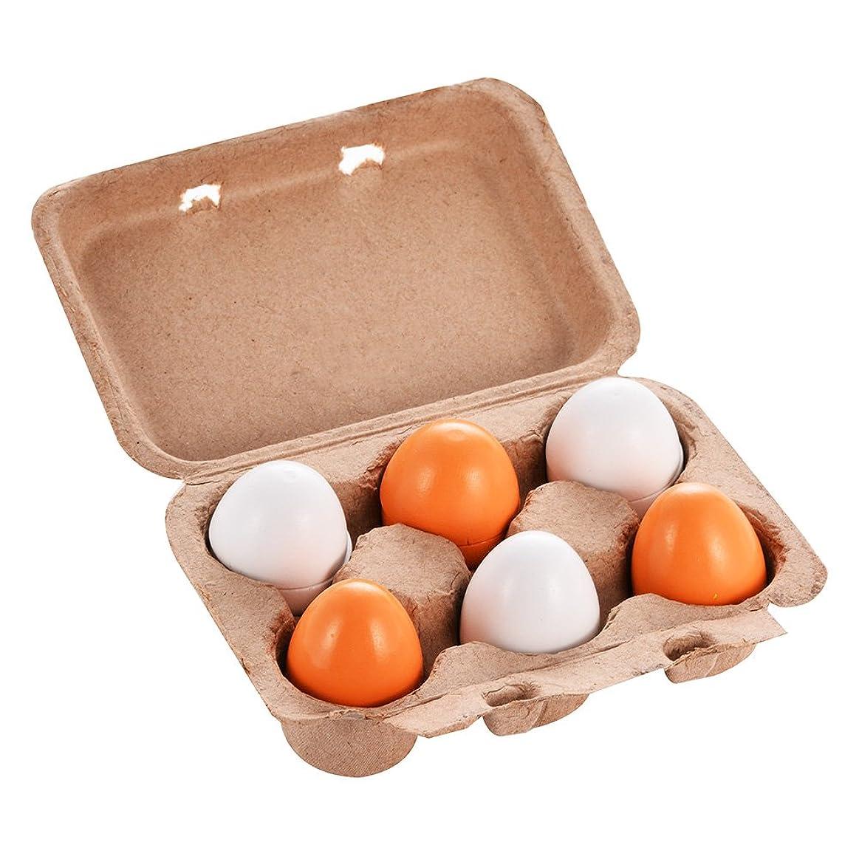 凝視バーコンサート6マザーガーデンのかわいい木製の卵のおもちゃ/ボックスに卵黄/子供のクッキングゲーム