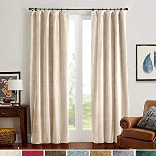 Velvet Curtains Beige 63 Inches Save On Cooling Cost Home Decor Window Super Soft Luxury Drapes for Bedroom Curtain Panels Rod Pocket 2 Panels