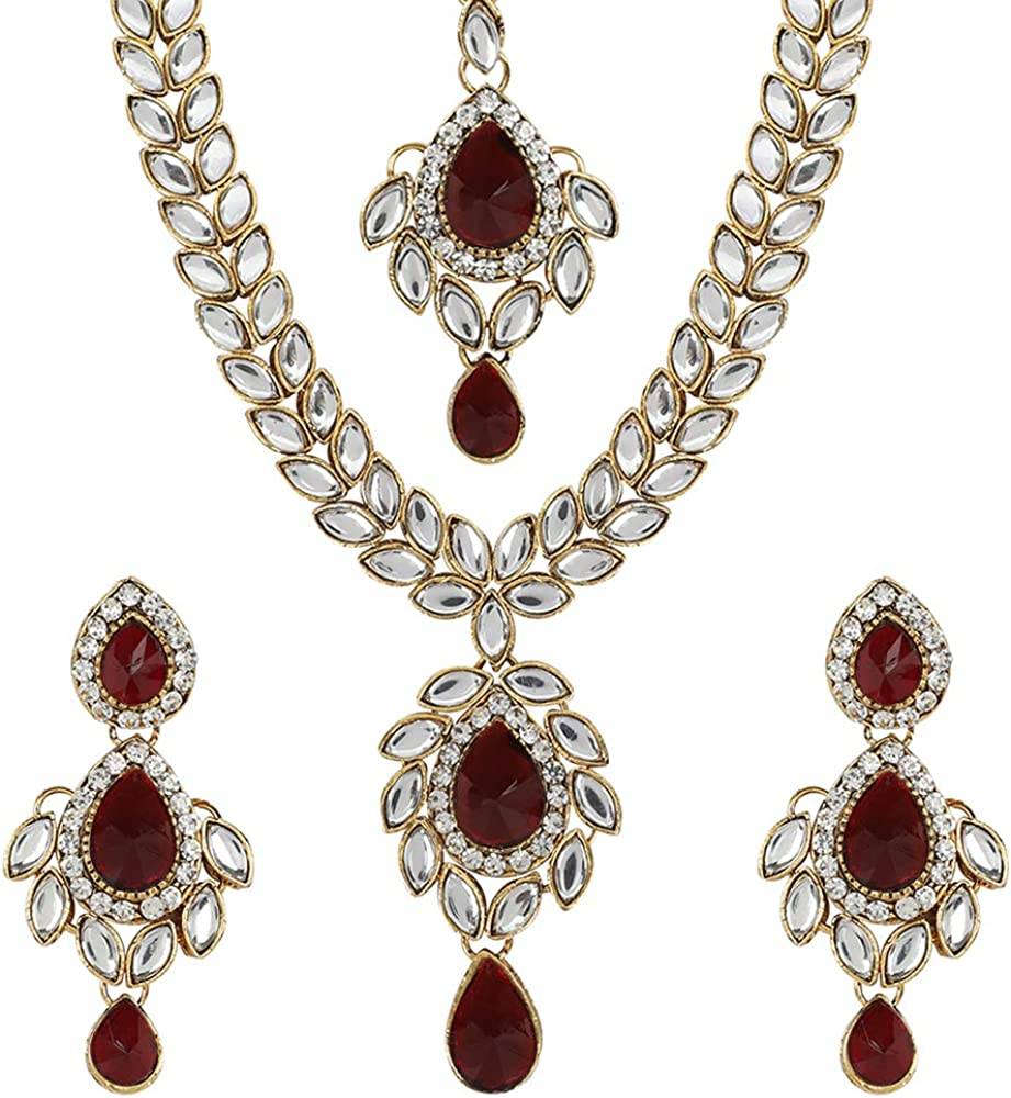 MUCH-MORE Unique Crystal Stone & Kundan CZ Stone Indian Bollywood Traditional Necklace Set for Women