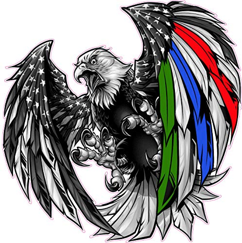 Thin Green Blue Red Line Military Law Enforcement First Responders American Flag Eagle Decal (6' x 6')