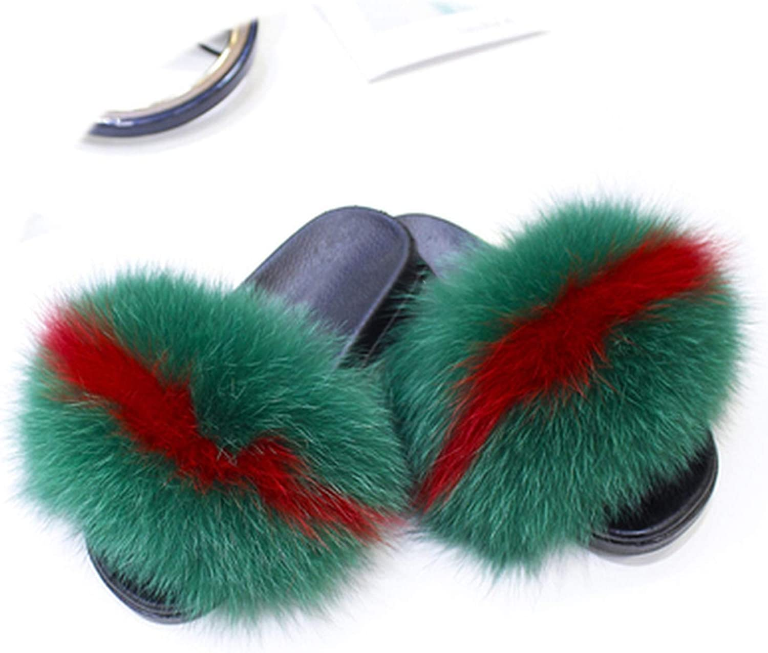 Peony red Luxury Women's Fox Hair Slippers Warm Furry Slippers Ladies Plush Fashion Indoor Solid Slippers Size 36-41