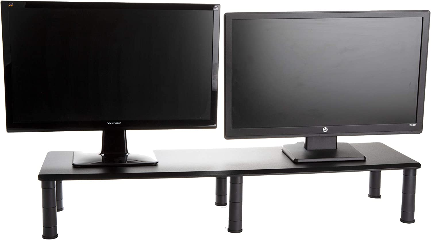 Mind Reader DUBMO-BLK Large Dual Stand for Computer Screens, Riser Support The Heaviest Monitors, Printers, Laptops, TV's, Perfect Shelf Organizer for Office Desk Accessories, Height Adjustable, Black