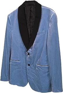 Men's Party Collection Light Blue Velvet Shawl Collar Tuxedo Blazer Smoking Jacket US 44
