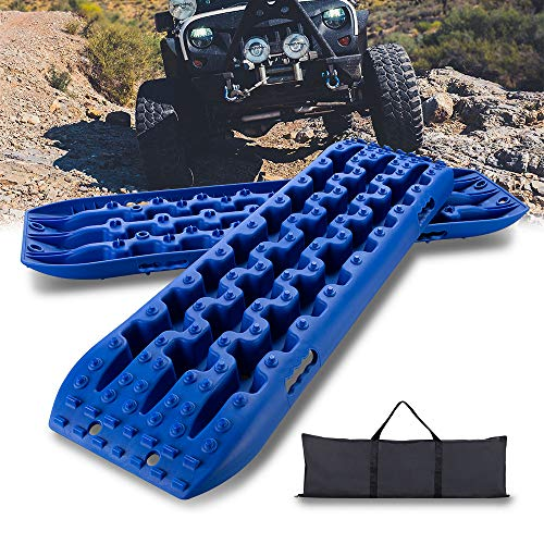 IKURAM Recovery Boards Traction Tracks Mat, 2 Pcs Traction Boards Offroad with Bag for 4X4 Jeep Off-Road Mud, Sand, Snow Traction Ladder, Track Tire Ladder, Tire Traction Tool- Bule