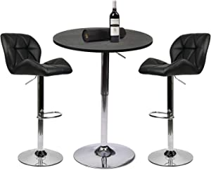 YOURLITE Pub Table Set 3 Piece 24 inch Black Wood Round Table with 2 Leatherette Chairs Height Adjustable Black Barstools