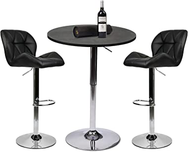 YOURLITE Pub Table Set of 3- Adjustable Round Table with 2 Swivel Stool PU Leather Height Adjustable Black Kitchen Barstools