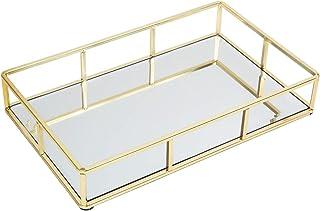 JollyCaper Tray Mirror, Perfume Tray Gold Mirror Decorative Tray Jewelry Vanity Tray Dresser Tray Makeup Organizer Tray, B...