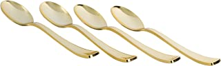 Exquisite 160 Disposable Plastic Gold Teaspoons Silverware, Fancy Plastic Cutlery, Heavy Duty Quality Utensils for Catering Formal Events, Wedding, Parties, Dinner and all other occasions