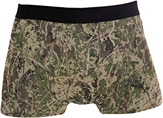 UWSG Men's No Ride Up Boxer Brief Christmas Tartan Deer