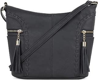 | Crossbody Hobo Slouch Bucket Purse Bag | Side Pockets with Tassel | Adjustable Strap
