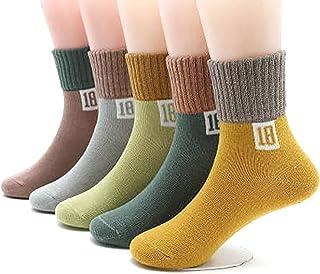 Bocotoer, Pack de 5 calcetines gruesos de invierno para bebé, niños, niñas, calcetines antideslizantes para invierno