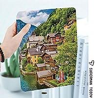IPadケース スマートカバー アイパッドケース タブレットカバー アイパッド第四世代 第三世代 オーストリアのアルプスのハルシュタット湖のある有名なハルシュタットマウンテンビレッジ