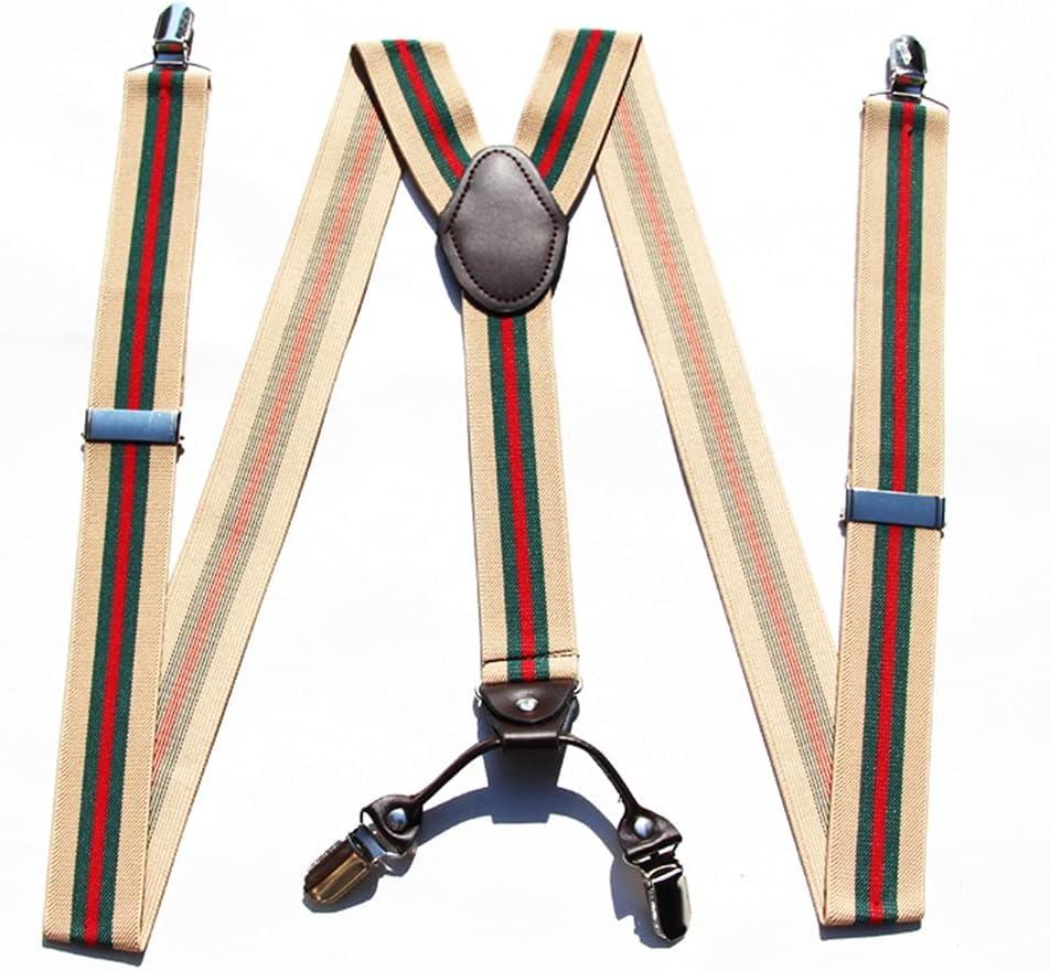 NJBYX Men's Suspenders, Men's Suspenders, Trousers, Suspenders, Elastic Shoulder Straps, Business (Color : C, Size : Adjustable)