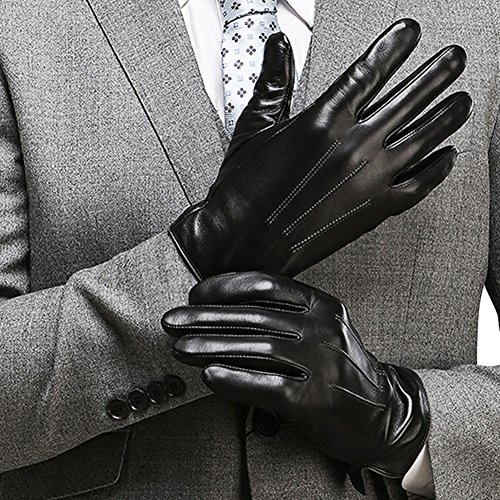 HARRMS Herren Beste Touchscreen Nappa-echtes Leder-Handschuhe für Texting Fahren Winter-kalte Wetter Handschuhe L-8.9